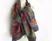 Hand Felted Scarf Merino Wool Silk Floral Grey Rose Plum Scarlet Purple