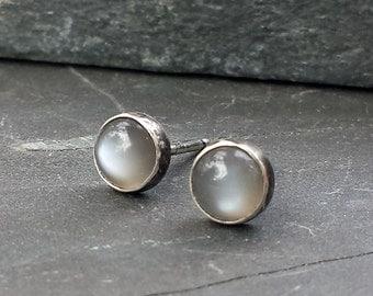 Silver Moonstone Studs, Sterling Post Earrings, Gemstone Earrings, Silver Studs, Oxidized Finish, Bezel Set