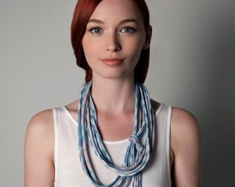 Blue Necklace, Summer Scarf, Festival Clothes, Bohemian Necklace, Tribal Necklace, Festival Fashion, Festival Jewelry, Summer Necklace