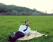 Organic Picnic Blanket- Waterproof Picnic Blanket- Gold Gingham, Modern, Gift for Men, Father's Day