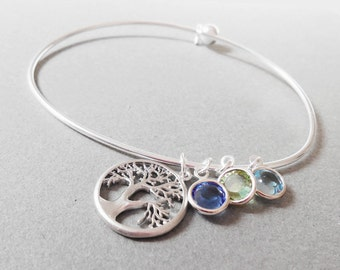 Family Tree Birthstone Bangle .Personalized Bracelet  .Personalized Jewelry New mom Gift Grandmother gift child birthstone Mother's Day Gift