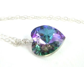 Purple heart necklace, Swarovski crystal pendant, Amethyst blue necklace pink violet necklace, Prism necklace, Bridesmaid necklace gift