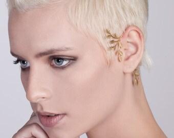 Statement Gold Tree Ear Cuff - gold ear cuff , leaves ear cuff , statement ear cuff , wedding jewelry , no piercing ear cuff