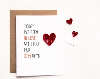 Personalized Days I have been In Love With You Card - Anniversary Card - Valentine's Day Card - I love you card