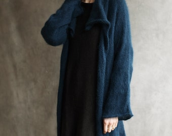 Angora Wool Knitted Cardigan, Fluffy Hand-Crafted Open Sweater Furry Wrap Waterfall Collar Petrol Blue Hand-Loomed Long Sleeves Mohair Shrug