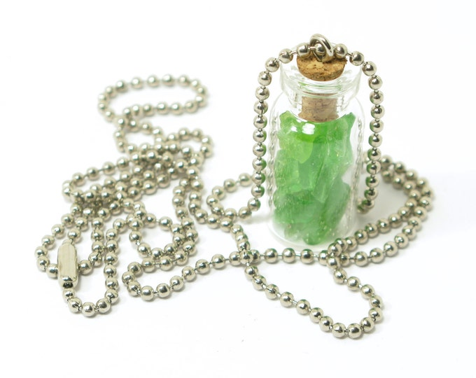 "Soda Bottle Green Sea Glass Collection in a Mini Corked Bottle on a Ball Chain, Your choice of Costume Jewelry or Stainless Steel, 16""-30"""
