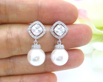 Bridal Pearl Earrings Swarovski Crystal 10mm Round Pearl Cubic Zirconia Earrings Square Cut Earrings Wedding Jewelry Bridesmaid Gift (E152)