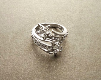 Stars Bypass Ring, Lab Diamonds, Sterling Silver, Wrap Ring, Crossing Ring, Pave Set Stones, Cluster Ring, Valentines Day Gift, Mothers day