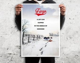 Fargo retro travel poster movie. Vintage snowy landscape North Dakota. Available in different sizes Digital Art Vintage quote print