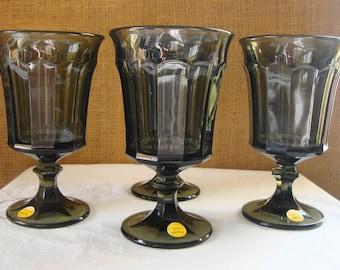 "5 VINTAGE ONEIDA ""ENTREE"" Stemware Glasses Crystal Wine Glasses Crystal By Oneida Wine Glasses Goblets Paneled Entree Pattern Deep Green"