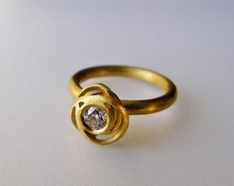 Engagement Ring in 18k Solid Gold with a White Sapphire . Tangled Ring . Wedding Ring . Diamond Solitaire Ring. Gold Flower Ring. Stack Ring