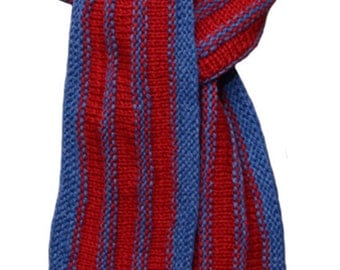 Hand Knit Scarf - Red Denim Blue Stripe Wool