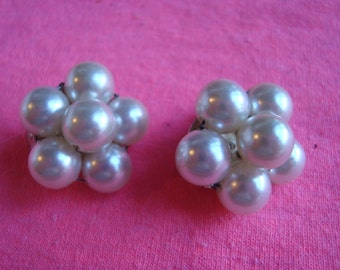 Gorgeous Stamped Faux Pearl Clip On Earrings Signed JAPAN