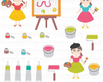 Artist kids vector Digital Clipart - Instant Download - EPS, Pdf and PNG files included