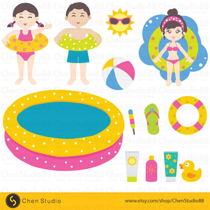 Pool Party Vector Digital Clipart Instant Download Eps