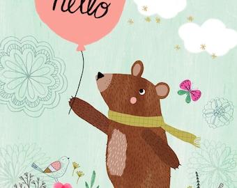 Hello Bear...Giclee print of an original illustration