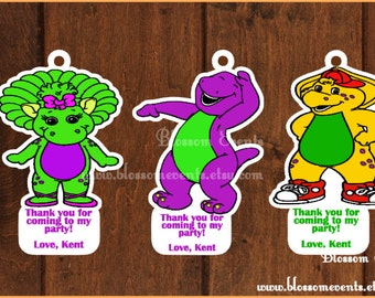 Barney and Friends Favor Tags