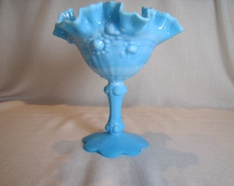Fenton Compote Blue Slag Cabbage Rose