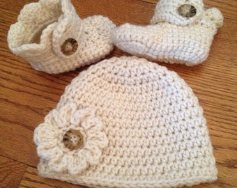 Crocheted Baby Hat with Flower, Matching Boots