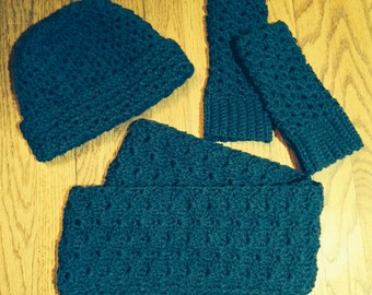 Woman's Crocheted Infinity Scarf, Finger-less Gloves and Hat Set