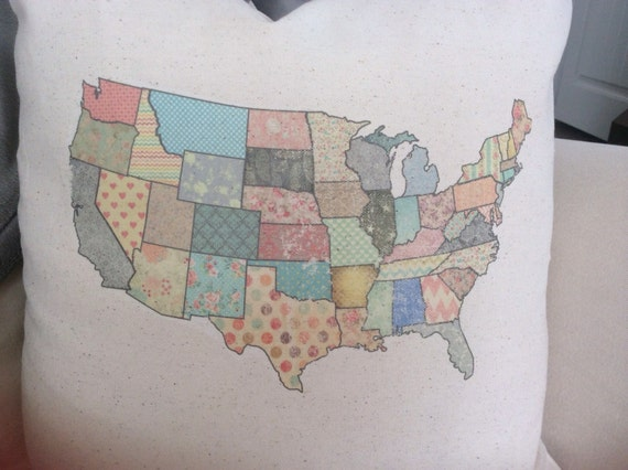 Peru (IL) United States  city photos gallery : United States Map pillow. United states map. Map pillow. States map ...