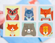 Set of 12 stickers animals