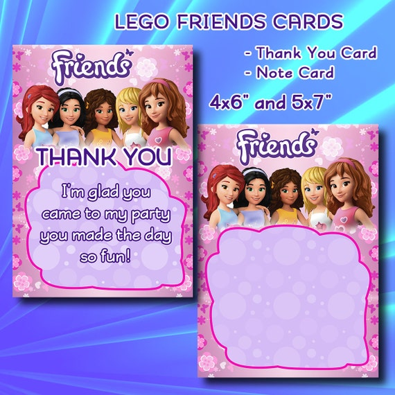 Lego Friends Thank You Card Note Card Kid's Birthday By DigiPi