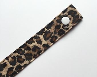 Leopard Print Fabric Pacifier Clip