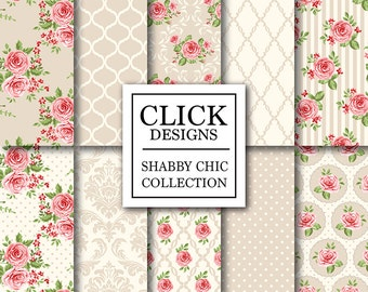 """Shabby Chic Digital Paper: """"SHABBY CHIC BEIGE"""" Floral scrapbook background, romantic papers with roses, damask for wedding invites, carts"""