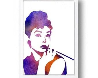 Watercolor Print Audrey Hepburn Illustration Watercolor Painting Portret Art Portret Print