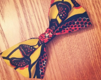 Ankara Print BowTie - Butterscotch Blaze (Ties, Unisex, Neckwear, Neck Piece, African Fashion, Bow Tie, Wax Print, Adjustable Neckband)