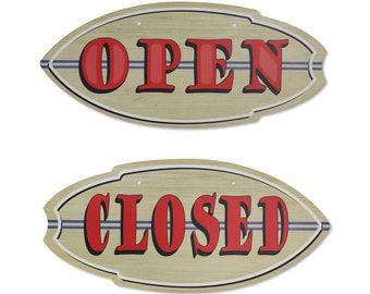 Handcrafted Open/Closed Surf Board Sign Restaurant Sign Pub Bar Home Decor Decorative Sign Funny Sign Beach Sign Surf To Summit  (PSS00008)