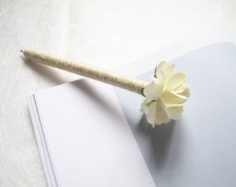 Set of 2 / 4 Wedding Guest Book Pens, Burlap Pen, Ivory Paper Flower, Rustic Wedding Pen, Cottage Chic Decor, Wedding Decor, Rustic Flower