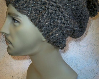 Chunky Knit Slouchy Pom Hat Beanie Hipster Barley Wool Ease Thick and Quick Yarn Handmade