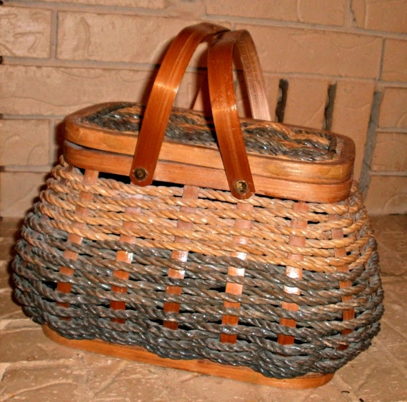 Woven Basket With Hinged Lid : Vintage woven basket rope wood hinged lid by