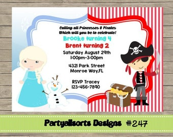247 DIY - Elsa and Pirate Invitations Cards.