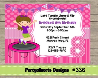 336 DIY - Girls Trampoline Party Invitations Cards.