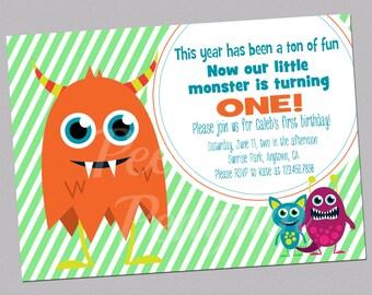 Monster First Birthday Invitations, Baby Boy Birthday Invites, Digital Birthday Invitations, Boy First Birthday Invites, Printable Invites