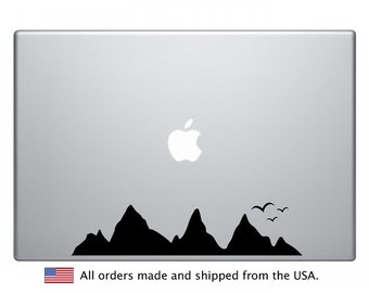 Mountains Macbook Decal - Mountains and Birds Laptop Sticker - iPad, Macbook Air, Sticker, Mountains, Decal, Laptop, Art, Gift, Christmas
