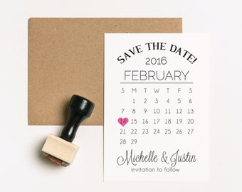 Save the Date Stamp Set, TWO Stamps, Wedding Calendar Stamp, Calendar Heart Stamp Set, Wedding Invitation Stamp, Engagement Stamp (SWEDD100)