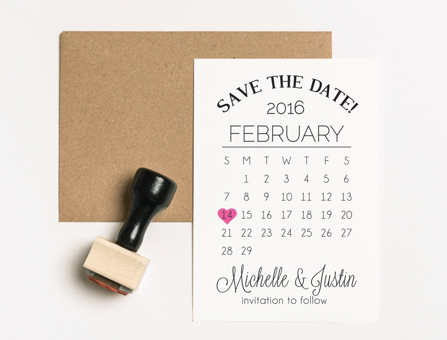 Save The Date Stamp Set Two Stamps Wedding Calendar Stamp