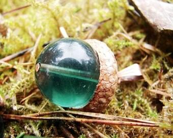 green fluorite acorn pendant 16mm