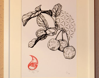 Flower of Life Berry Stippling hand pulled edition of 20 A4 Screen print. Sacred Geometry. Dotwork. Christmas.