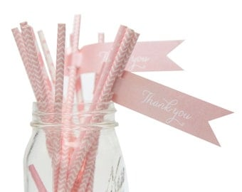 Straw Flags and Paper Straws, Pink Straw and Flag Set, Pink Party Set, Paper Straws, Straw Flags