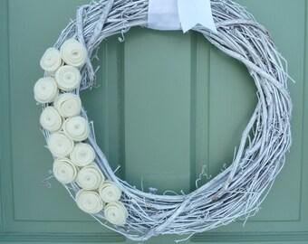 Rustic White Wreath with Ivory Felt Rosettes