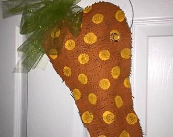 Easter Carrot - Burlap Door Hanger / Wreath