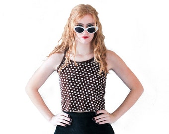 90's DAISY Print Brown/White Slinky Double Strap Crop Top || Vintage || Small