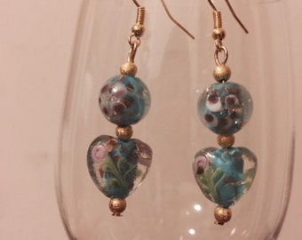 Light Blue Lampwork Bead Earrings