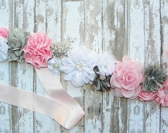 Pink Grey Sash, Pink Bridal Sash, Pink Gray White Wedding, Bridesmaid Sash, Bridal Belt, Flower Girl Sash, Bridal Party, Pink Satin Sash