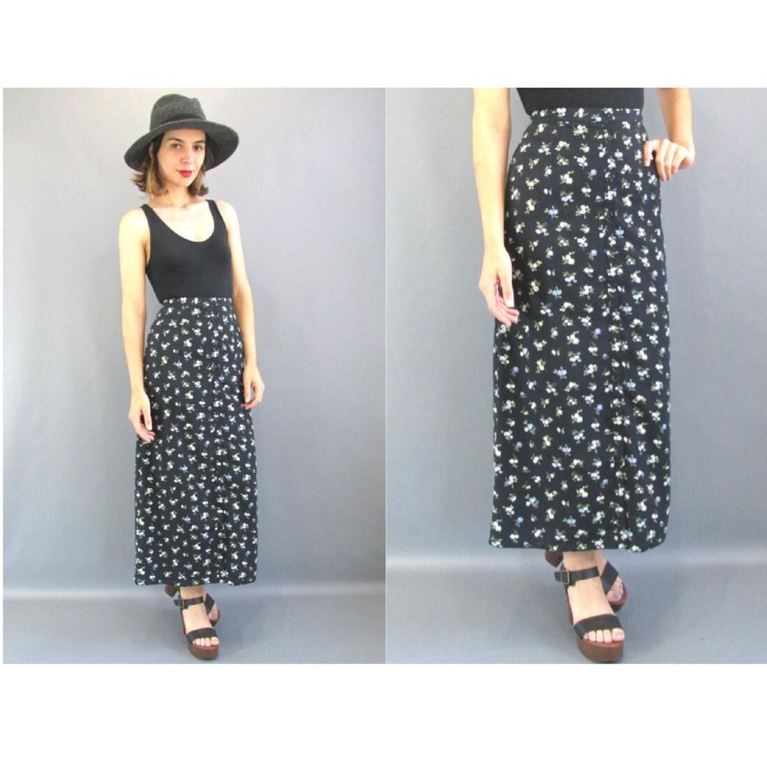 XS Long Black Floral Grunge Skirt XS Button Front Festival